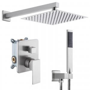 Bathroom Shower System with 10 Inches Rain Shower Head & Handheld Shower, Brushed Nickel XB6230-BN