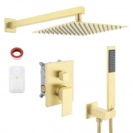 Bathroom Shower System with 10 Inches Rain Shower Head & Handheld Shower, Brushed Brass XB6230-BZ