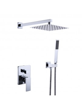 Bathroom Shower System with 10 Inches Rain Shower Head & Handheld Shower, Polished Chrome XB6230-CH