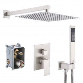 Bathroom Shower System with 12 Inches Rain Shower Head & Handheld Shower, Brushed Finish XB6230S12-BN