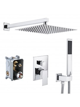 Bathroom Shower System with 12 Inches Rain Shower Head & Handheld Shower, Polished Chrome XB6230S12-CH