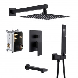 Bathroom Shower System with Tub Faucet & Spout Set & Handheld & 10 Inches Rainfall Shower Head Combo, Matt Black XB6300-BK