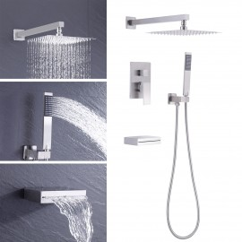 Bathroom Shower System with Waterfall Tub & 10 Inches Rain Shower Head & Handheld Shower 3-Funtions, Brushed Nickel XB6305-BN