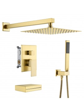 Bathroom Shower System with Waterfall Tub & 10 Inches Rain Shower Head & Handheld Shower 3-Funtions, Brushed Brass XB6305-BZ