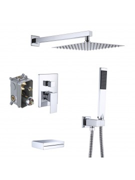 Bathroom Shower System with Waterfall Tub & 10 Inches Rain Shower Head & Handheld Shower 3-Funtions, Chrome XB6305-CH