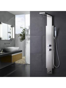 KES SUS 304 Stainless Steel Thermostatic Shower Panel 4-Function Rainfall Shower Head Handheld Showerhead Massage Side Spray Tub Spout Bathroom Wall Rain Shower System, XPM2500-2