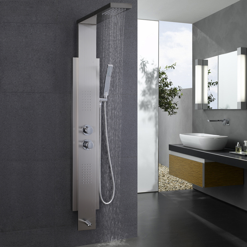 KES SUS 304 Stainless Steel Thermostatic Shower Panel 4 Function Rainfall  Shower Head Handheld Showerhead Massage ...
