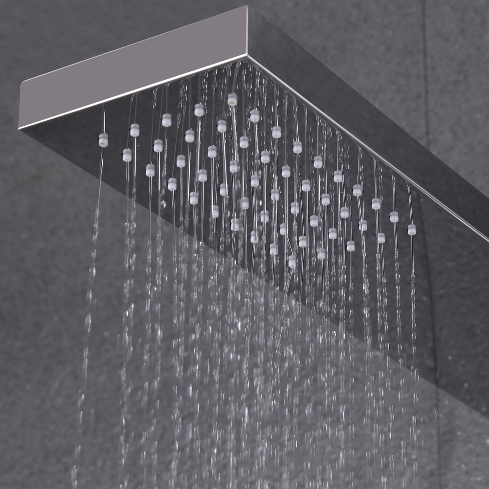 KES SUS 304 Stainless Steel Thermostatic Shower Panel 4 Function Rainfall  Shower Head Handheld Showerhead Massage Side  SUS 304 Stainless Steel Thermostatic Shower Panel 4 Function  . Overhead Rain Shower Head With Handheld. Home Design Ideas