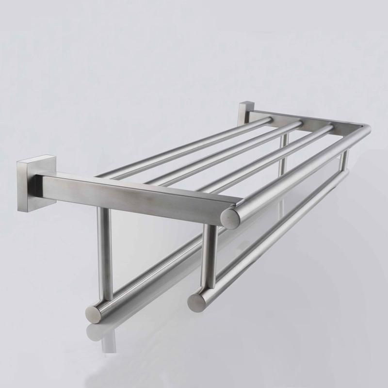 brushed nickel bathroom shelves storage kes stainless steel bath towel rack bathroom shelf with double