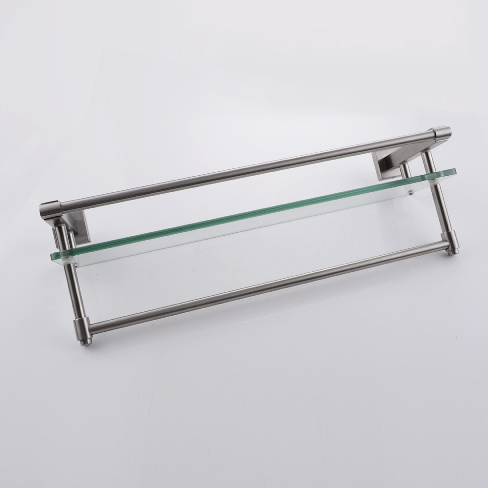 Glass bathroom shelf with rail - Kes A2225 2 Sus304 Stainless Steel Bathroom Glass Shelf Wall Mount With Towel Bar And Rail Brushed Finish