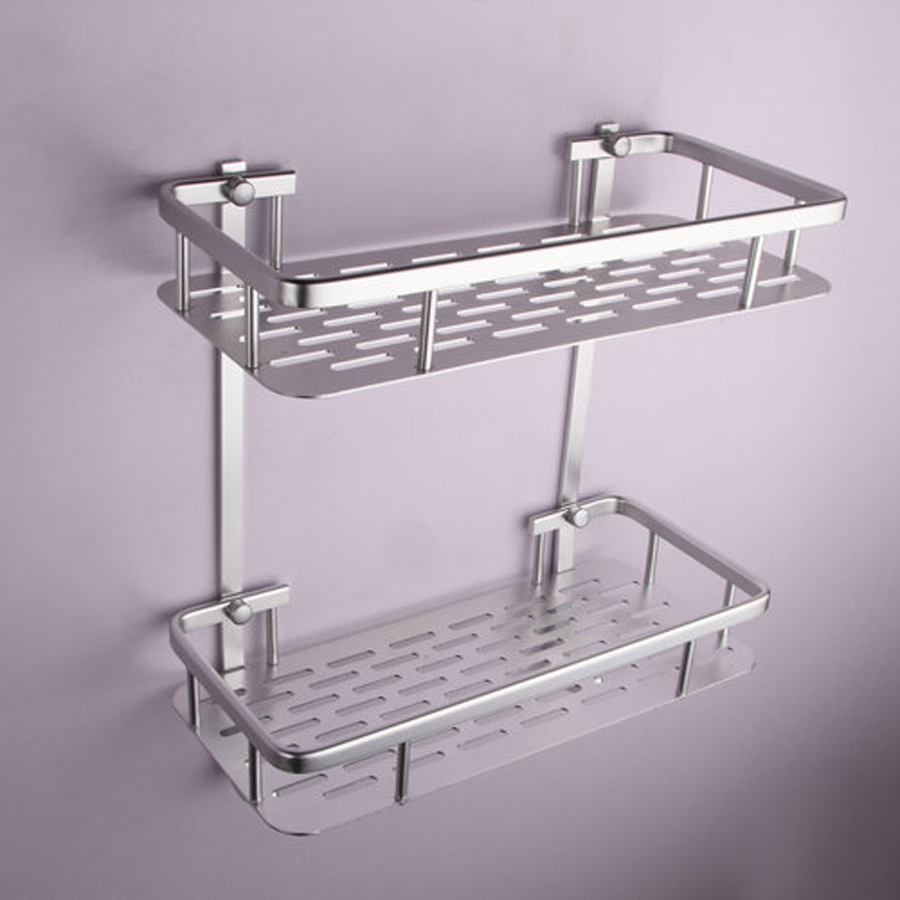 Kes bathroom aluminum storage shelf basket with hooks wall - Bathroom storage baskets shelves ...