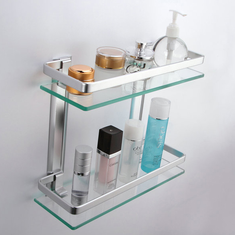 KES Bathroom 2 Tier Glass Shelf with Rail Aluminum and