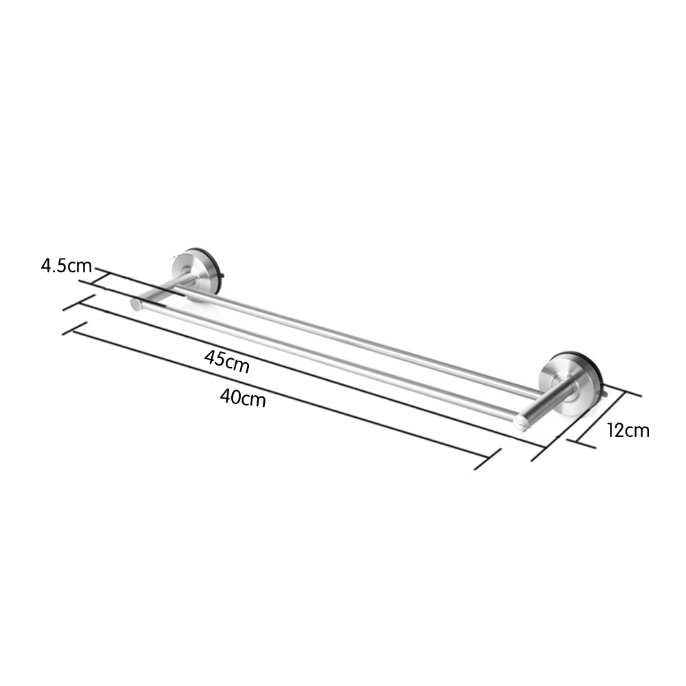 Suction Cup Bathroom Accessories Suction Cup Double Towel Bar Sus 304 Stainless Steel No Drill Wall