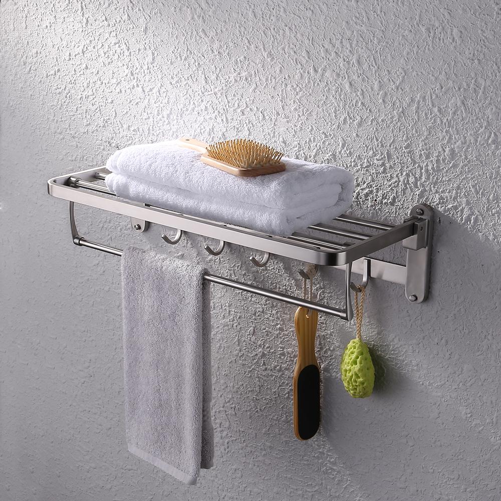 KES SUS 304 Folding Bathroom Shelf Hotel Towel Rack with Swing ...
