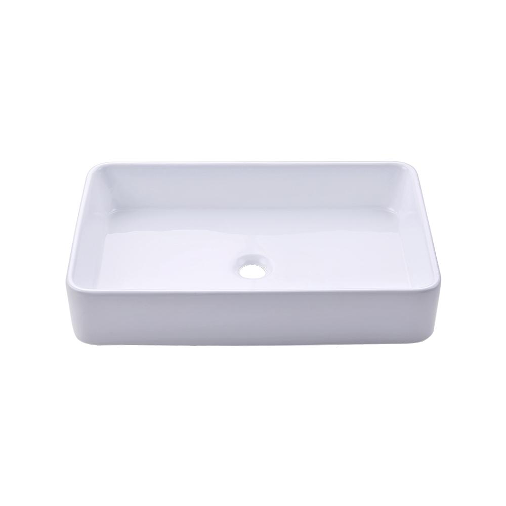 KES Bathroom Sink, Vessel Sink 24 Inch Porcelain Rectangular White ...