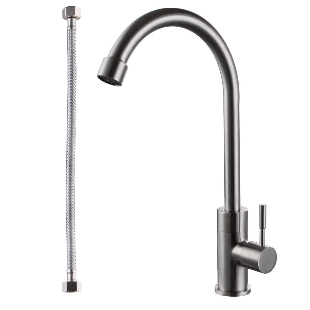 Kes L6910 2 Solid Brass Singel Lever High Arc Pull Down Kitchen Faucet With Retractable Pull Out