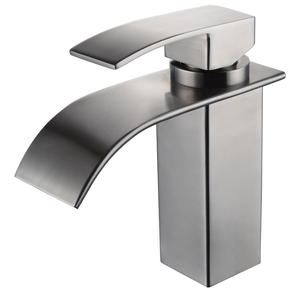fascinating Stainless Steel Waterfall Faucet Part - 13: KES SUS304 Stainless Steel Waterfall Bathroom Vanity Sink Faucet with Extra  Large Rectangular Spout Lead-free, L3186ALF