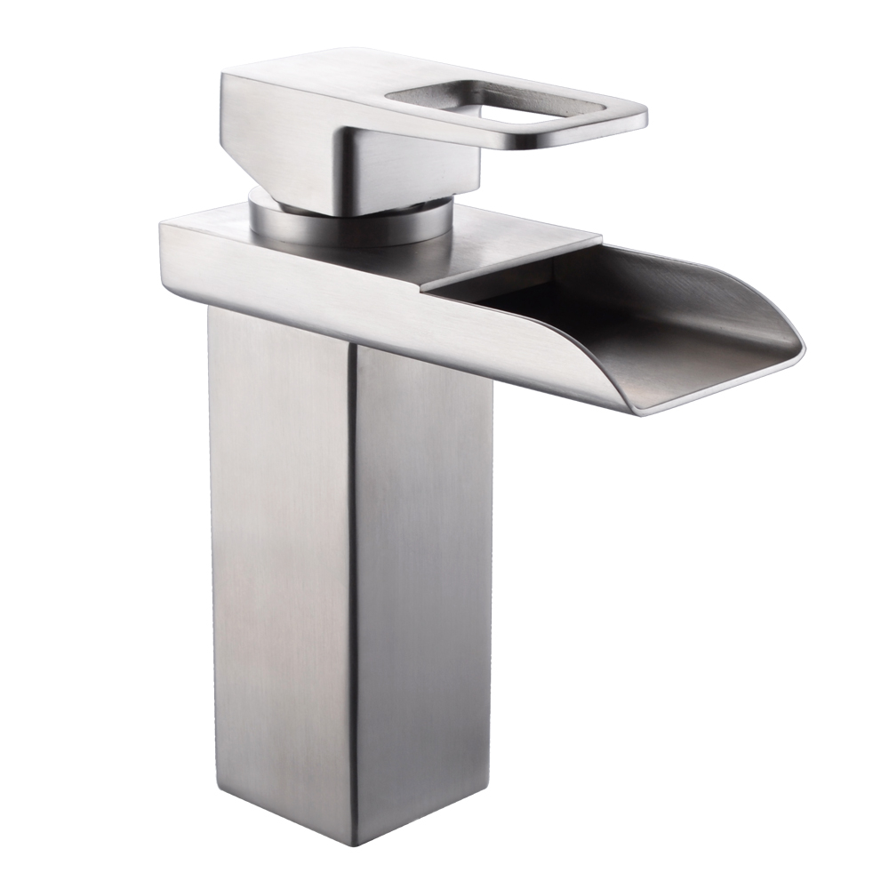 Kes Lead Free Waterfall Bathroom Faucet Sus 304 Stainless Steel Single Handle Lavatory Vanity Sink