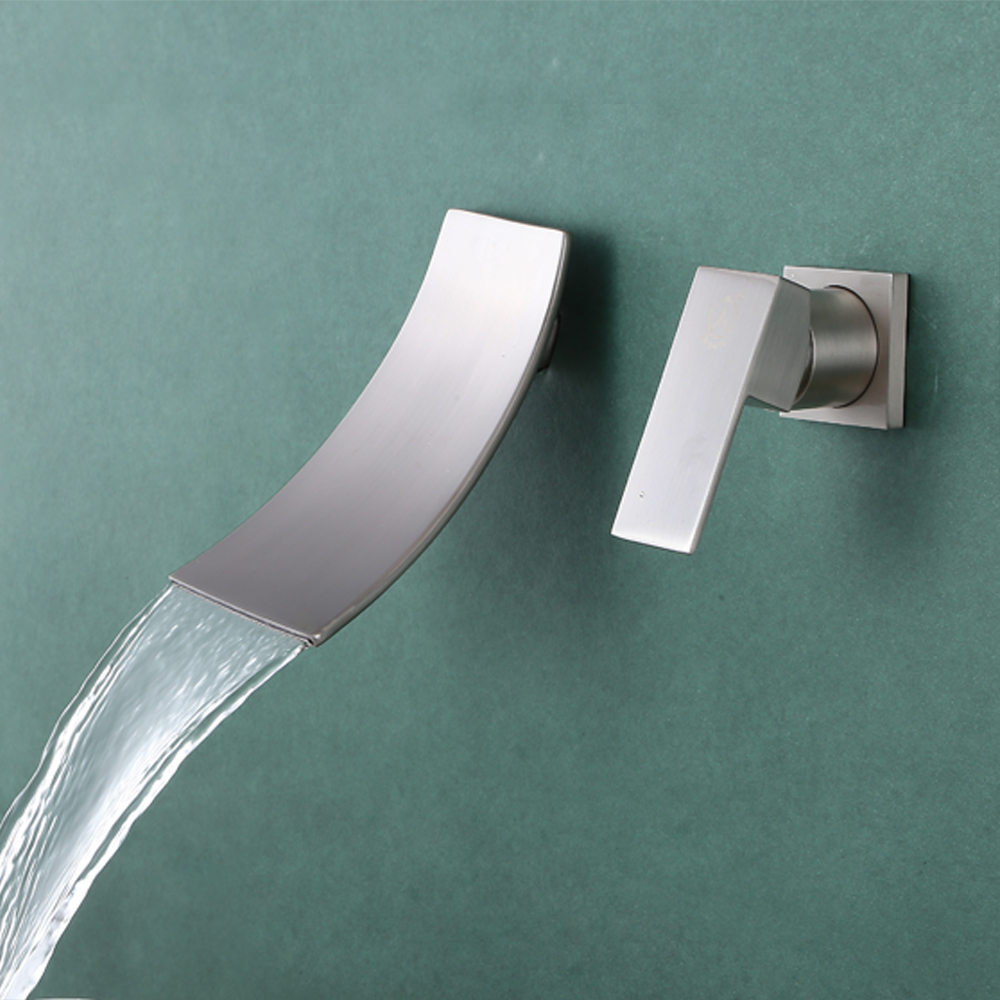 KES Wall Mount Bathroom Faucet Waterfall Lavatory Sink Faucet ...
