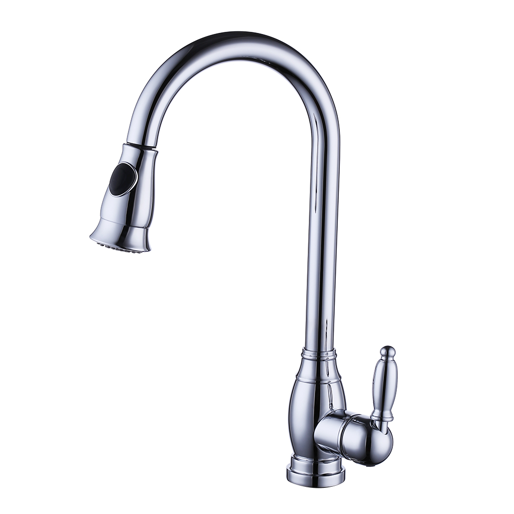 KES Brass Bar Sink Faucet With Pull Down Sprayer Head Modern Single Tall  Large Commercial Pullout Kitchen Faucet Sprayer Pulldown High Arc  Gooseneck, ...