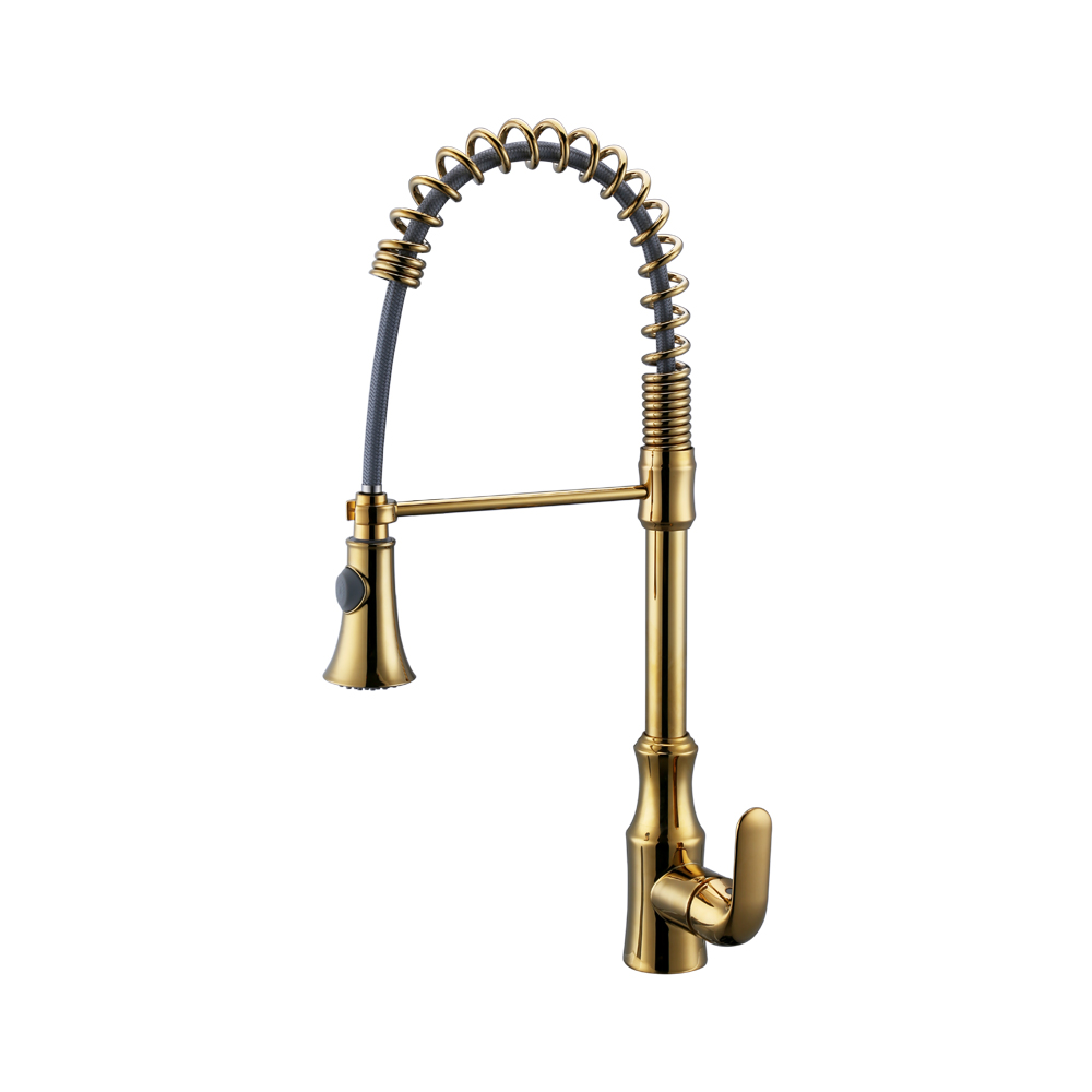 KES Pull Down Spring Faucet Kitchen Single Handle High Arc Kitchen Bar Sink  Faucet Single Hole BRASS, ...