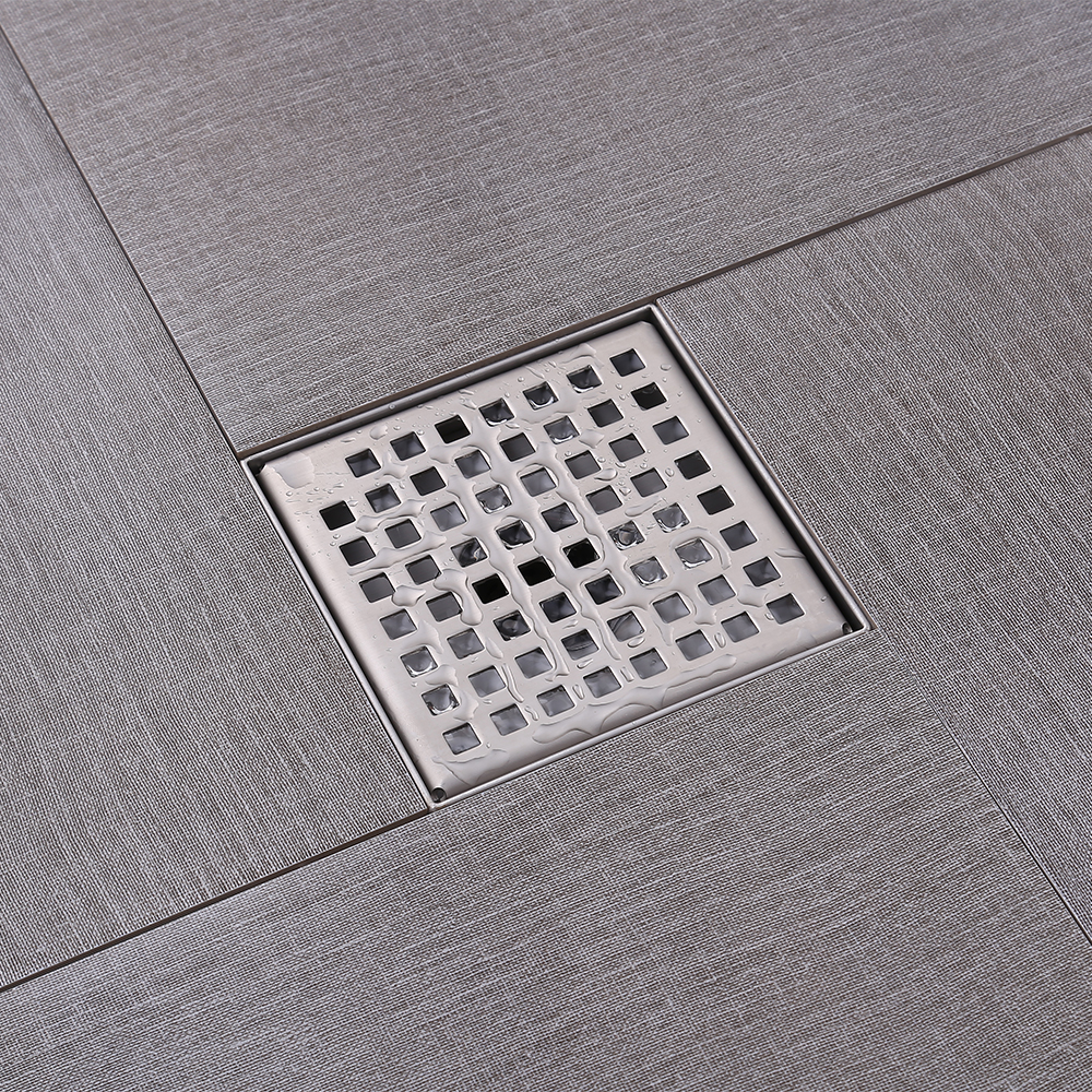 Kes square shower floor drain with removable grate strainer sus kes square shower floor drain with removable grate strainer sus 304 stainless steel bathroom drainer rustproof brushed dailygadgetfo Images