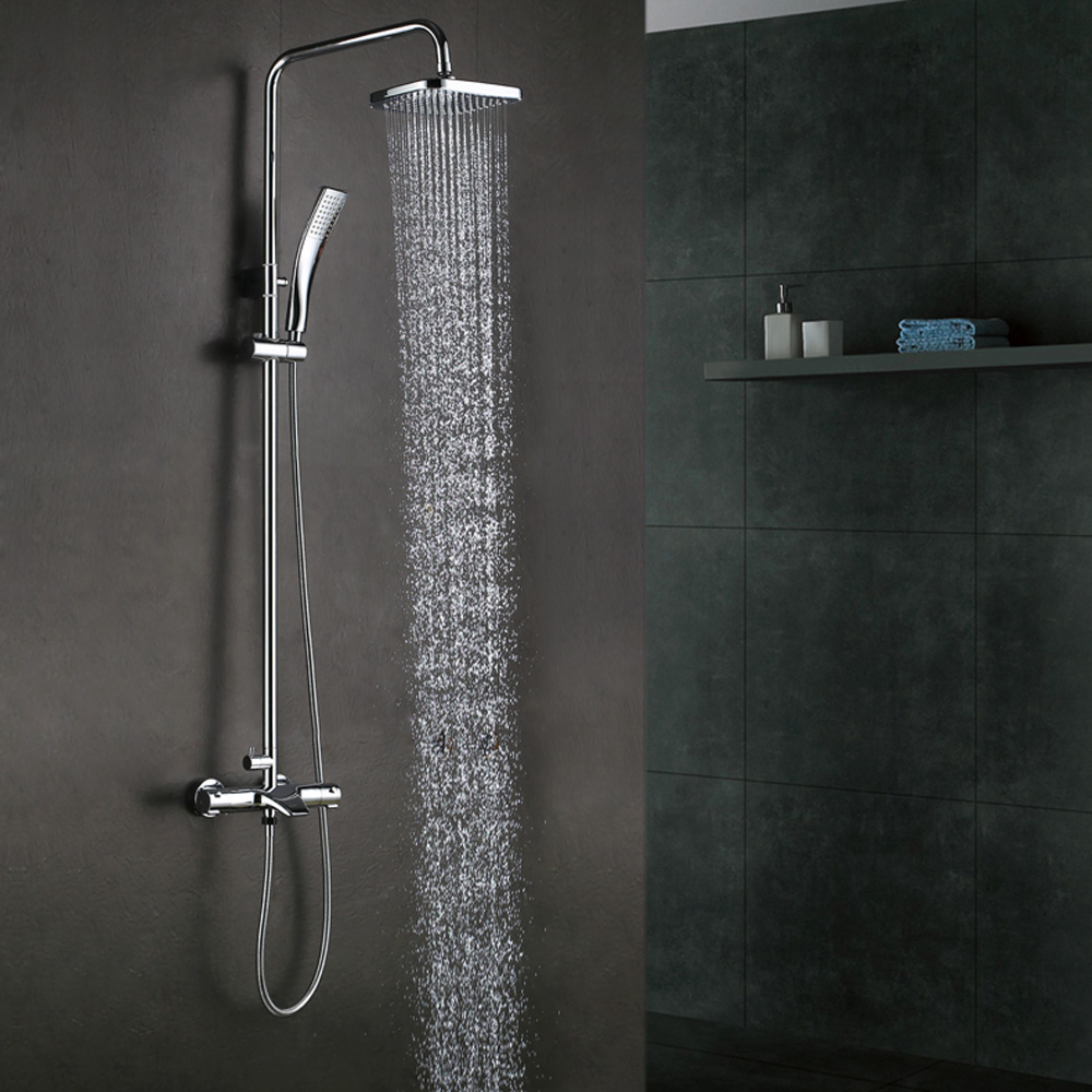 kes european style thermostatic bathrube shower system rainfall shower head adjustable shower. Black Bedroom Furniture Sets. Home Design Ideas